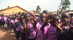 African School Children Waving Hands in Slow Motion in Kabale, Uganda - stock footage