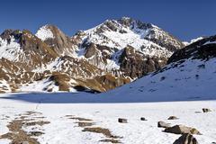 view while ascending wilde kreuzspitze mountain, here below rauhtaljoch pass  - stock photo