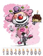 Clown on unicle carrying a gils's birthday cake Stock Illustration