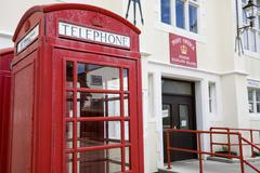 English phone booth in front of the post office in port stanley, capital of t Kuvituskuvat