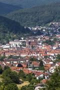 view of eberbach, baden-wuerttemberg, germany, europe, publicground - stock photo