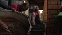Serving Food in Slow Motion in Uganda, Africa - stock footage