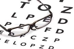 glasses and eyesight test - stock photo