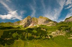 east side of hoefats mountain, 2259m, laufbacher eck-weg hiking trail, allgae - stock photo