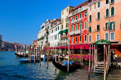 Venice grand canal, italian canal grande and gondola small harbor. old veneti Stock Photos