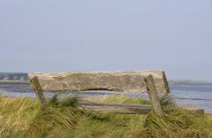 Stock Photo of old wooden bench, amrum island, north sea, schleswig-holstein, germany, europ