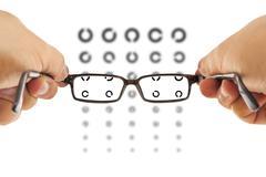 Glasses and eyesight test Stock Photos