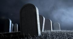 graveyard tombstones at night - stock illustration