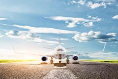 airplane ready to take off from runway. a big passenger or cargo aircraft, ai - stock photo