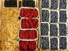 Punnets of redcurrants, blueberries and blackberries Stock Photos