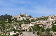 Stock Photo of view the old town of valldemossa, serra de tramuntana, northwestern coast, ma