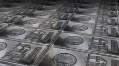 Dolly shot across 10 ounces silver bars Stock Footage