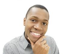 Young man, african-american, american, smiling, happy Stock Photos