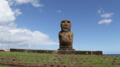 Moai in Hanga Roa, Easter Island, Rapa Nui Stock Footage