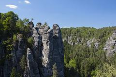 Stock Photo of rock formation near the bastei rock formation in the elbe sandstone mountains