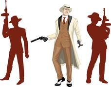 Caucasian mafioso godfather with crew silhouettes Stock Illustration