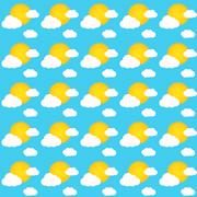 seamless pattern of sky during sunny day with sun and clouds - stock illustration