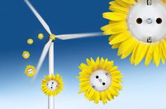 Symbolic image for wind power, sun flower sockets flying out of a wind turbin Stock Illustration