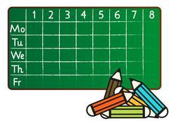 school timetable in greenboard (blackboard) style - stock illustration