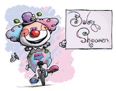 Clown on unicle holding a baby shower card Stock Illustration