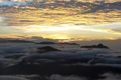 cloudy sky, sunrise over the mountains, view from adam's peak, sri pada, zent - stock photo