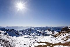 view while ascending wilde kreuzspitze mountain over the pfunderer mountains, - stock photo