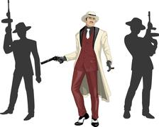 Asian mafioso godfather with crew silhouettes - stock illustration