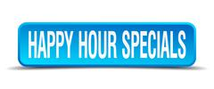 Happy hour specials blue 3d realistic square isolated button Stock Illustration