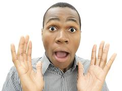 Young man, african-american, american, surprised face, frightened Stock Photos