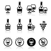 Brandy and cognac vector icons set Stock Illustration