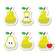 Pear, pear core, bitten, half vector icons - stock illustration