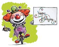 clown on unicycle holding a happy birthday card - stock illustration