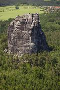 falkenstein rock in the elbe sandstone mountains, saxony, germany, europe - stock photo