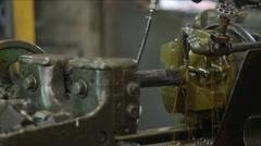 "MS Threader Machine Threading 3"" Steel Rod Stock Footage"