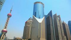 Skyscrapers of Shanghai in Pudong District, China Stock Footage