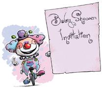 clown on unicle holding invitation-baby shower party - stock illustration