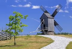 Wooden windmill Stock Photos