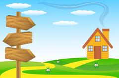 wooden pointer to the green lawn - stock illustration