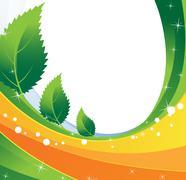 three spiky leaves - stock illustration