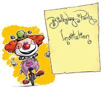 Clown on unicle holding invitation Stock Illustration