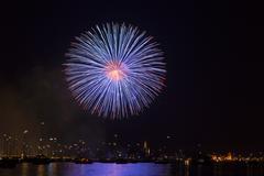 fireworks during seenachtsfest festival in konstanz, lake constance, baden-wu - stock photo