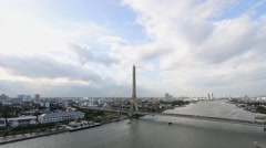 Time lapse Bangkok Rama VIII bridge in Thailand. Stock Footage
