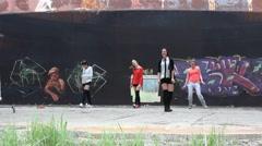 Four dancing girls. Stock Footage