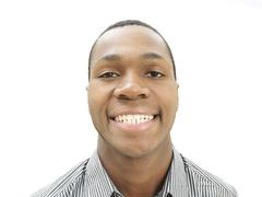 Smiling young man, african-american, american, grinning Stock Photos