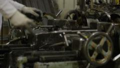 Machine Shop Threader MS Follow Worker's Hands Running Machine Stock Footage