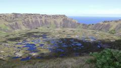 Mirador Volcano Rano Kau Easter Island, Rapa Nui Stock Footage
