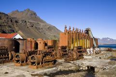 Machinery of the former whaling station of grytviken, king edward cove, south Stock Photos