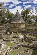 Reconstructed house of the chachapoya andean people, kuelap, peru, south amer Stock Photos
