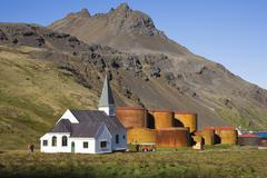 Church of grytviken, former whaling station, king edward cove, south georgia, Stock Photos