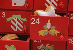 Red drawers, advent calender Stock Photos